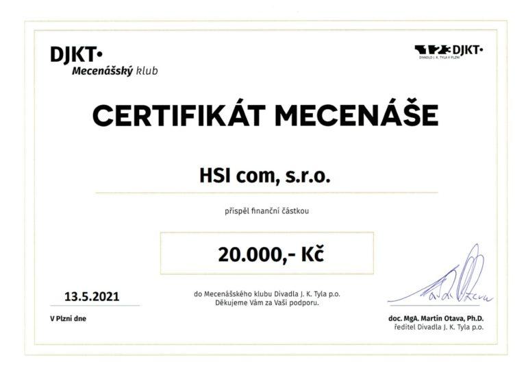 Společnost HSI com s.r.o. je i nadále členem Mecenášského klubu